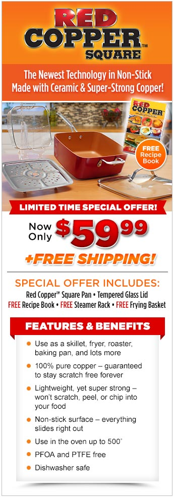 Red Copper Square Pan Offer