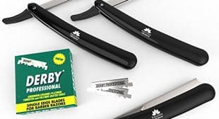 Equinox Professional Barber Straight Edge Razor Safety BLACK with 100 Hi-Chromium Swiss Blades – Close Shaving Men's Manual Shaver – BEST SELLER!