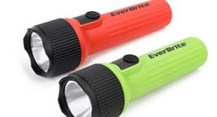 EverBrite LED Flashlight 2-Pack Impact Plastic Handheld Torch Light Red and Green 2 D Battery Included