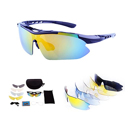 Polarized Sports Sunglasses with Tr90 Unbreakable Frame 5 Interchangeable Lenses