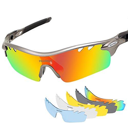 47e97475029 AKASO Men s Chameleon Multisport Polarized Sunglasses with 5  interchangeable lenses and 100% UV Protective Cycling Sunglasses (Gunmetal  grey Balck)