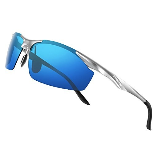 aa4168a2b7d PAERDE Men s Sports Style Polarized Sunglasses for Men Driving Fishing  Cycling Golf Running Al-Mg Metal Frame Ultra Light Glasses (Silver  frame Ice blue ...