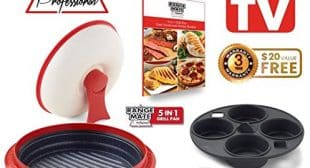 """Range Mate Pro Deluxe Nonstick Microwave 5-in-1 Grill Pot/Pan Cookware Set """"As Seen On TV"""" (Grill, Bake, Roast, Saute, Steam, Poach, & One Pot Meals) (Red)"""