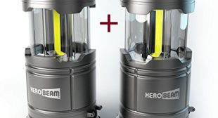 2 x HeroBeam LED Lantern V2.0 with Flashlight – Latest COB Technology emits 300 LUMENS! – Collapsible Tough Lamp – Great Light for Camping, Car, Shop, Attic, Garage – 5 YEAR WARRANTY