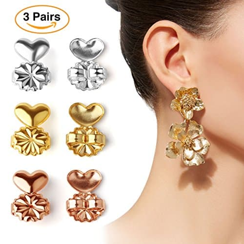 AsaVea Earring Lifters - 3 Pairs of Adjustable Hypoallergenic Earring Lifts (Gold Color and Silver Color and Rose Gold Color)