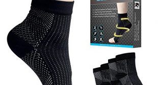 Beauty Star Plantar Fasciitis Socks, 2 Pairs Compression Foot Sleeves Ankle Arch Support Socks Pain Relief, Improved Circulation, Recovery, Ideal for Runners(Black, Size L/XL)