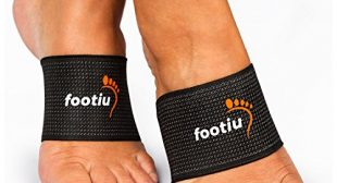 FOOTIU Compression Copper Arch Support Brace – 2 Plantar Fasciitis Sleeves For Pain Relief, Heel Spurs and Flat Feet