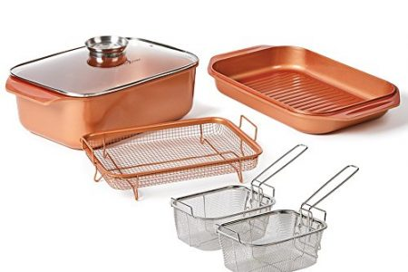 12 QT 14 In 1 Multi-Use Copper Chef Wonder Cooker with roasting pan and lid