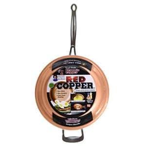 Red Copper Pan Ceramic Copper Infused Non-Stick Fry Pan Skillet Scratch Resistant