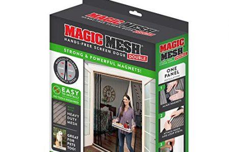 Magic Mesh Double Door- Hands Free Magnetic Screen Door, Fits French & Sliding Doors