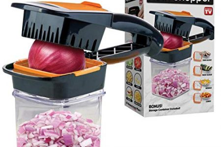 Nutrichopper with Fresh-Keeping Container - Chops, Slices, Cubes, Wedges Food Chopper